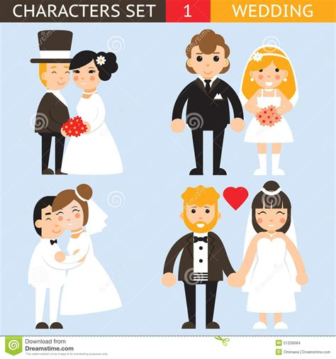 Wedding Invitations Characters by Wedding Characters Set Flat Desingn Icons Vector Stock