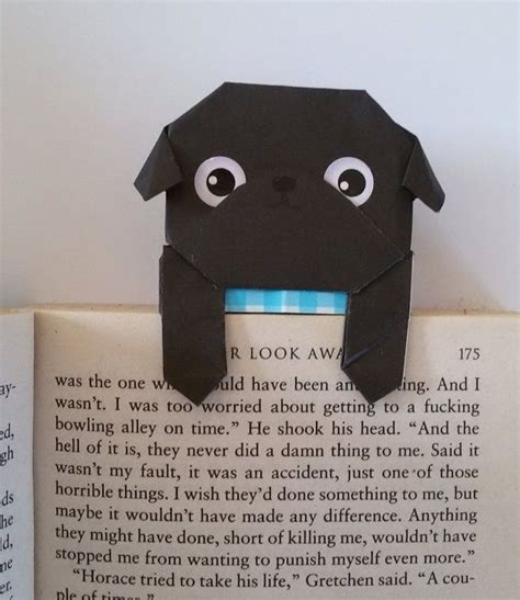 How To Make A Cool Origami Bookmark - handmade origami black pug bookmark the bookmark is