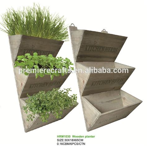 herb shelf hot sell wall hanging wooden kitchen herb planter rack shelf with soil growing medium and seeds