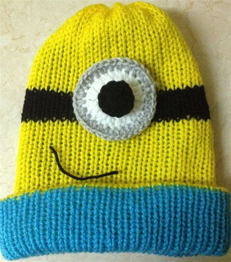 minion hat knitting pattern knitted minion hat with crochet detail on etsy 16 00
