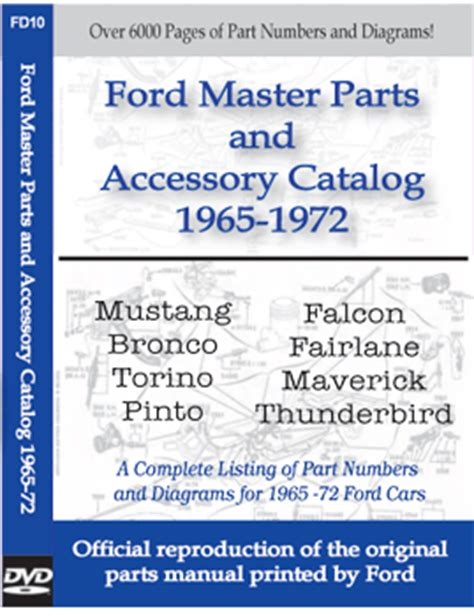 automotive repair manual 1965 ford thunderbird auto manual 1965 1972 ford car master parts and accessory factory catalog cd