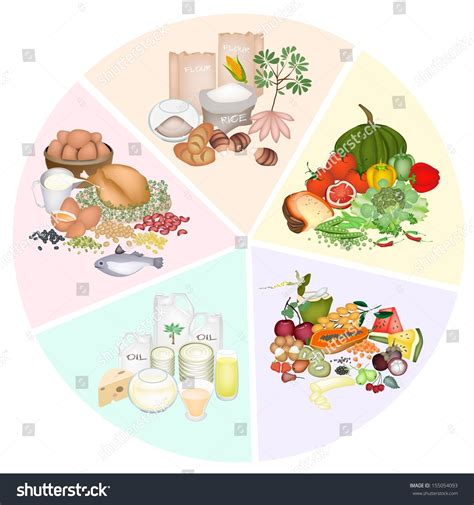 5 carbohydrates foods pie chart food groups carbohydrate protein stock