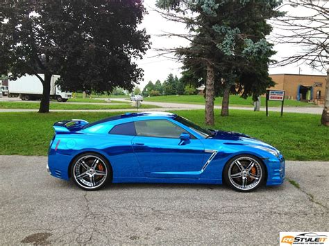 chrome wrapped cars nissan gtr blue chrome wrap vinyl car wrap car wraps