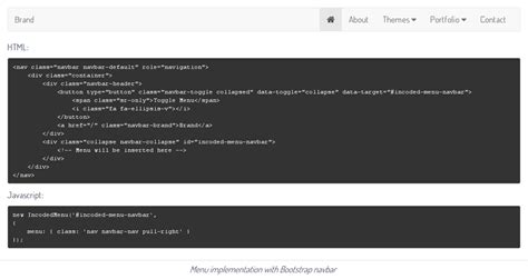 bootstrap themes json incoded json menu component by incoded codecanyon