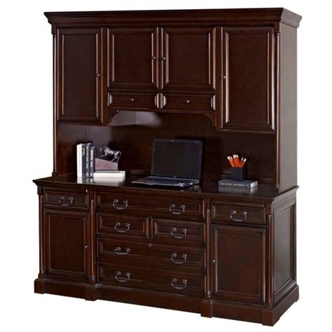 Kathy Ireland Home By Martin Mount View Wood Credenza Desk Cherry Wood Desk With Hutch