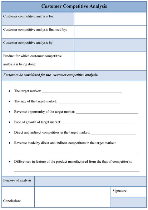 customer template printable customer competitive analysis template