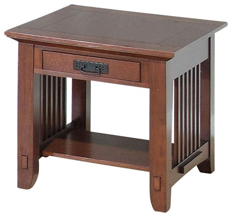 Mission Style Coffee Table With Drawers Viejo Mission Style End Table W Drawer In Brown Oak Finishes Contemporary Coffee Tables