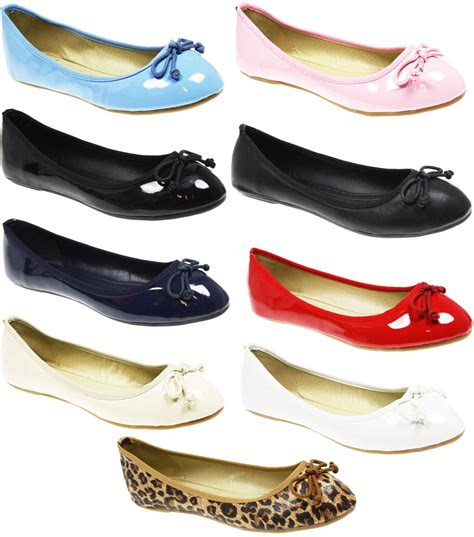 flat pumps shoes womens ballet dolly flat ballerina office work
