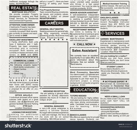 Fake Classified Ad Newspaper Business Concept Stock Photo 101054113 Shutterstock Classified Ads Template