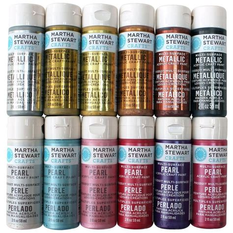 martha stewart crafts 2 oz 12 color multi surface glitter acrylic craft paint set promomet prl