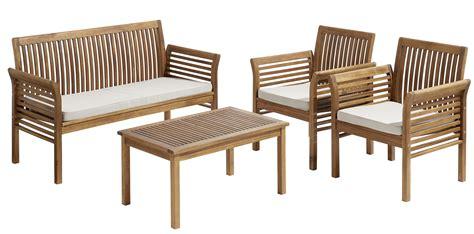 vente privee salon de jardin carrefour salon de jardin hano 207 1 table basse 1 sofa 2 fauteuils bois marron 4