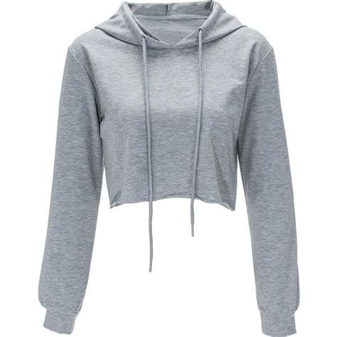 Sweater Crop Hoodie gray solid color drawstring hooded crop sweatshirt found