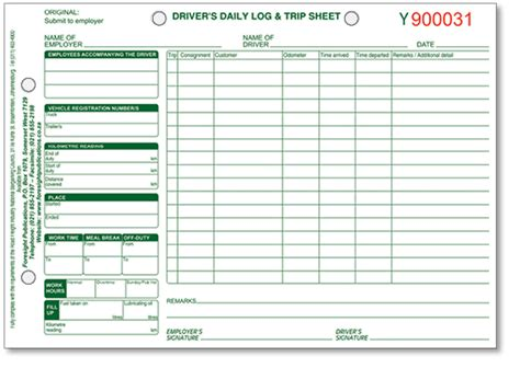 truck drivers trip sheet template truck drivers trip sheet template