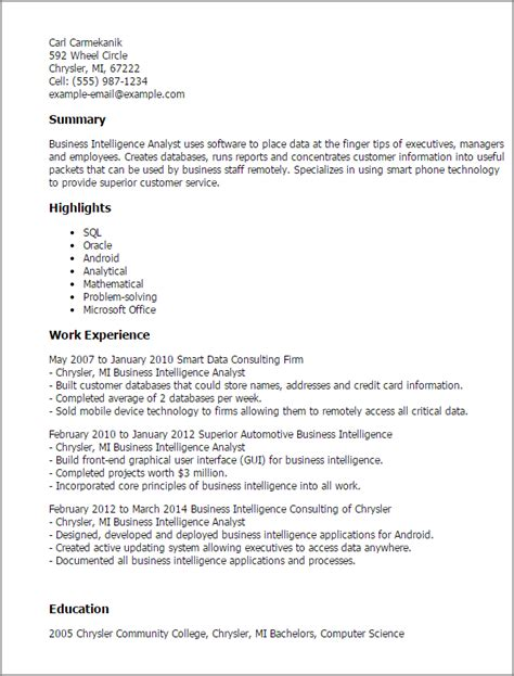 sle resume summary statement for business analyst professional business intelligence analyst templates to