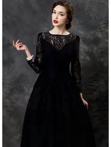 Black long sleeves lace prom dress
