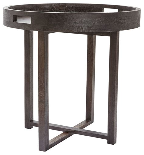 large round accent table large round black teak side table tray transitional