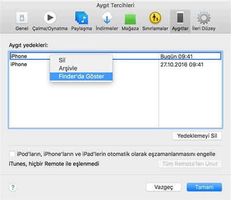 iphone u bilgisayara yedekleme iphone ve ipod touch ınızın yedeklemelerini apple destek