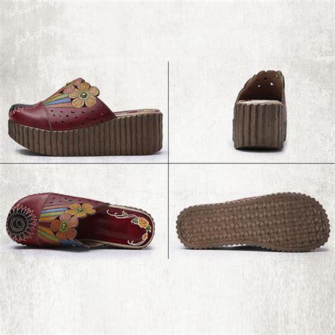 Sandal Cewek Original Handmade socofy original handmade flower slip on retro sandals alex nld