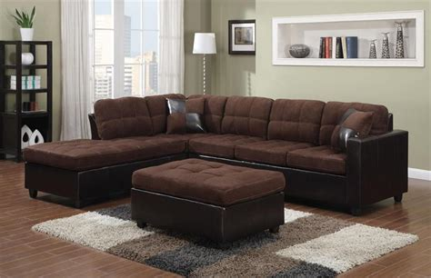 Chocolate Sectional by Chocolate Microfiber Reversible Sectional Mallory Collection