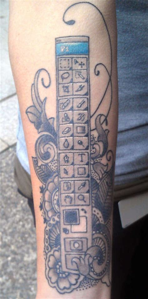 computer tattoos nerdy computer inspired tattoos photoshop toolbar
