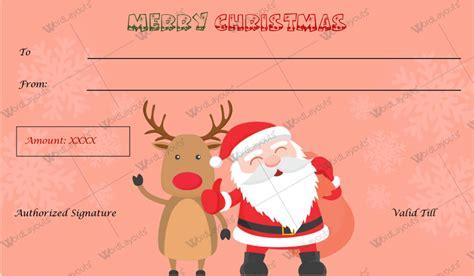 christmas gift certificate templates  word editable printable