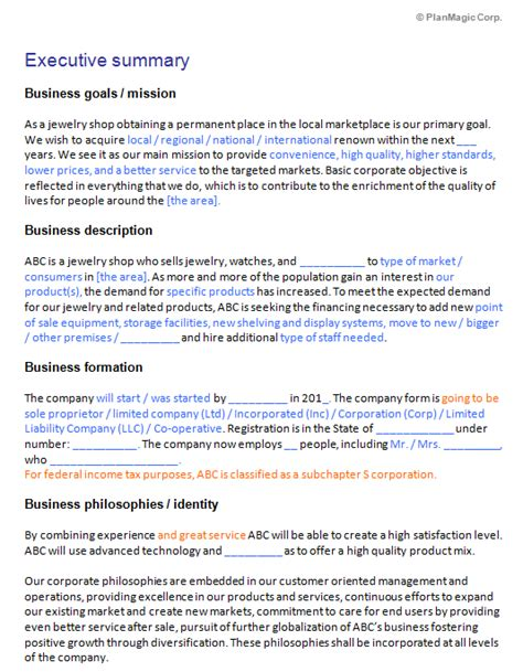 Jewelry Business Plan Template business plan templates