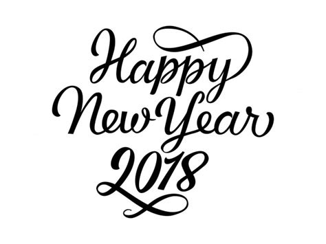 happy new year in font happy new year 2018 lettering vector free