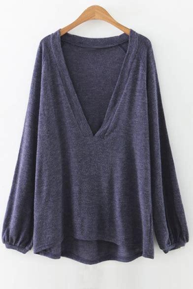 Plain Sleeve Knit T Shirt new arrival simple plain plunge neck sleeve knit