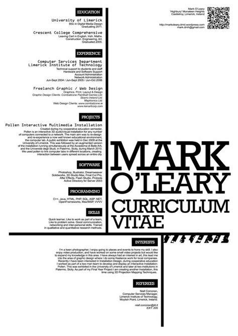 curriculum vitae design typography graphics and cv design