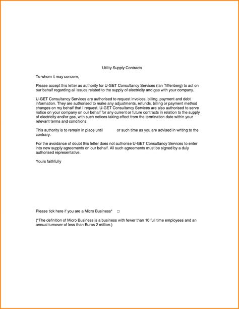authorization letter to use utility bill authorization letter sle for utility bill 28 images