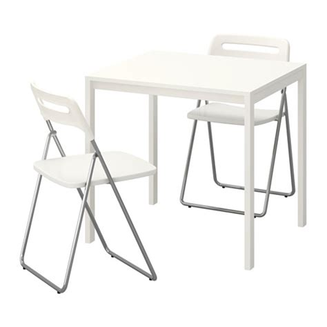White Folding Table And Chairs Melltorp Nisse Table And 2 Folding Chairs White White 75 Cm Ikea
