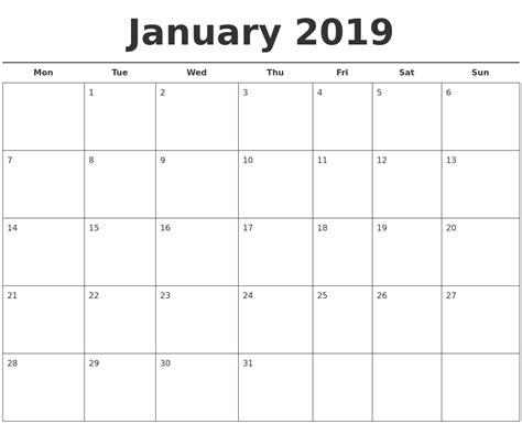 Free Calendar Template 2019 January 2018 Calendar Autos Post