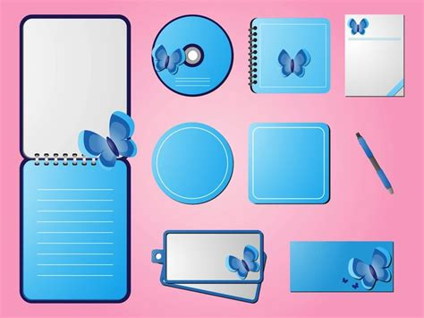 Spring Stationery Promotional Labels Template Vector Free Download Stationery Labels Templates