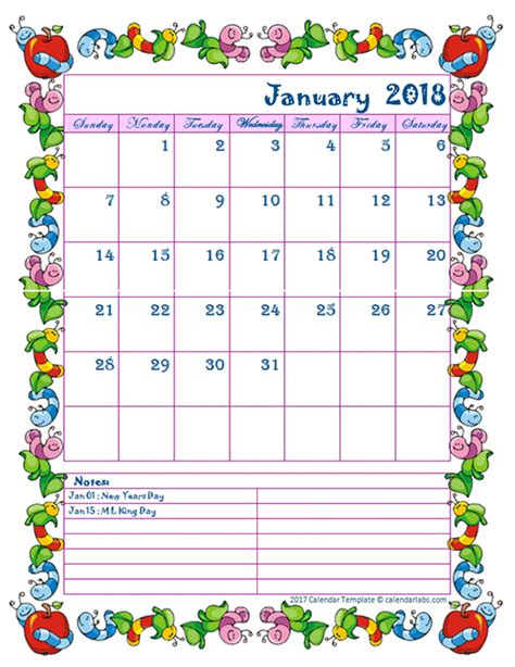 kid calendar template 2018 monthly kid kindergarten calendar template free