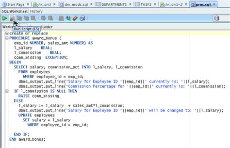 tutorial oracle procedure testing and debugging procedures using sql developer