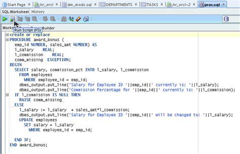 procedure tutorial in oracle testing and debugging procedures using sql developer