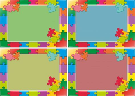 jigsaw pattern psd four frames design with jigsaw puzzle vector free download