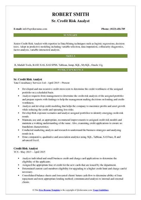 Credit Analyst Resume by Credit Risk Analyst Resume Sles Qwikresume