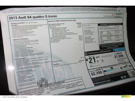Audi Quattro Window Sticker by 2013 Audi S4 3 0t Quattro Sedan Window Sticker Photos
