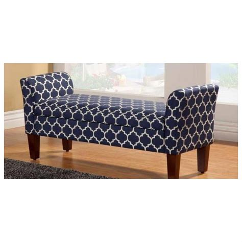 Bedroom Bench Navy Coaster Navy And Colored Patterned Fabric