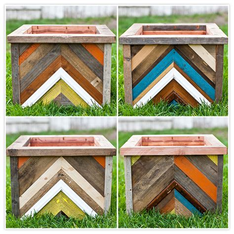 Reclaimed Wood Planter Box by Make It Diy Chevron Patterned Reclaimed Wood Planter Box