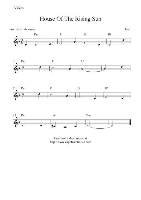 printable violin sheet music house of the rising sun free violin sheet music notes