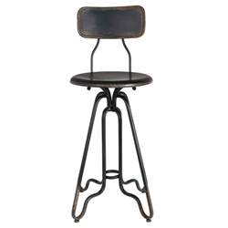 distressed iron counter stool in black bar stools
