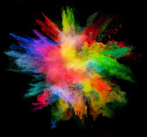color powder explosion of colored powder on black background stock