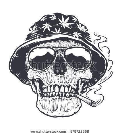 rastaman skull vector art skull hat stock vector 579722668