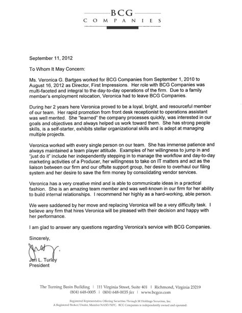 letter of recommendation bcg