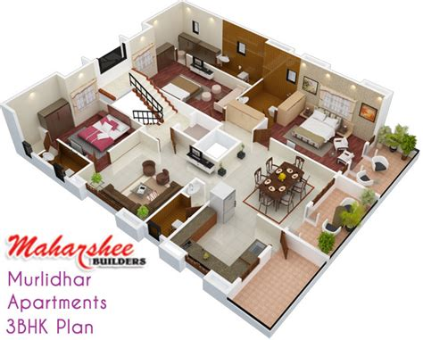 home design 3d 3 bhk maharshee builders murlidhar apartments 3 bhk flats