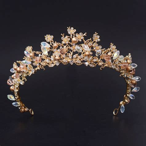Wedding Crown Earring yean gold wedding crown bridal tiaras with