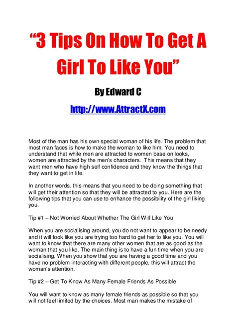 how can a woman get 3 tips on how to get a girl to like you