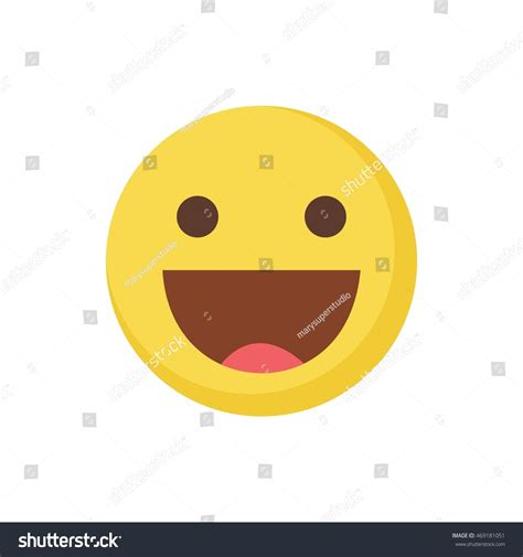 Flat Happy happy emoticon flat stock vector 469181051